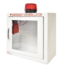 Compact Size Alarmed with Strobe AED Wall Cabinet Surface Mount w/ AED Signs