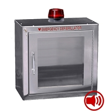 Alarmed with Strobe AED Wall Cabinet Stainless Steel Surface Mount w/ AED Signs