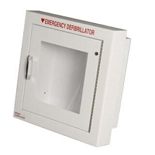 Alarmed AED Wall Cabinet Semi-Recessed w/ AED Signs