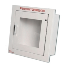 Alarmed AED Wall Cabinet Fire-Rated Semi-Recessed w/ AED Signs