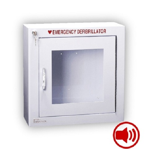 Alarmed AED Wall Cabinet Surface Mount w/ AED Signs